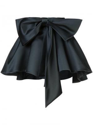 Атласная мини-юбка со сборкой Dice Kayek. Цвет: чёрный