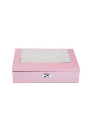 Шкатулка ювелирная MORETTO. Цвет: розовый, серебристый, темно-серый