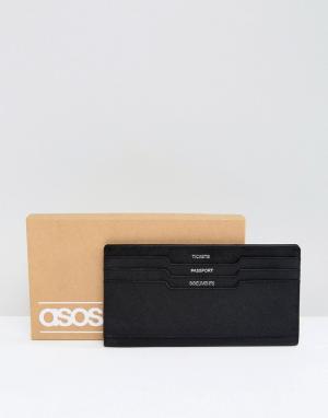 ASOS Черный дорожный бумажник из кожи. Цвет: черный
