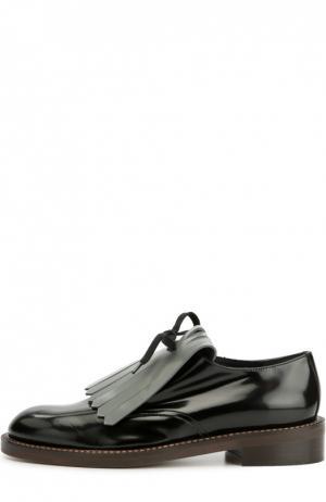 Кожаные ботинки с бахромой Marni. Цвет: серый