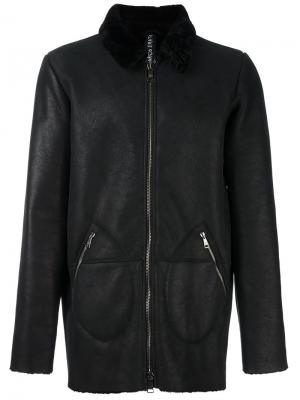Кожаная куртка с отделкой на воротнике Giorgio Brato. Цвет: чёрный