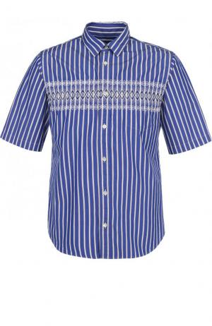 Хлопковая рубашка с короткими рукавами Sacai. Цвет: синий