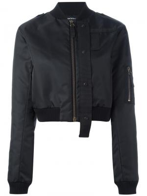 Укороченная куртка-бомбер Anthony Vaccarello. Цвет: чёрный