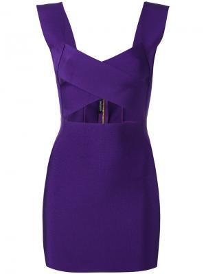 Коктейльное платье с вырезом Balmain. Цвет: розовый и фиолетовый