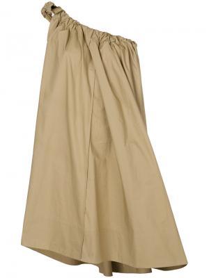 Присборенное платье на одно плечо Ter Et Bantine. Цвет: телесный