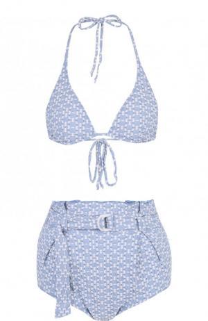 Раздельный купальник с треугольным бра Lisa Marie Fernandez. Цвет: голубой