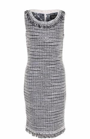 Буклированное приталенное платье с бахромой St. John. Цвет: темно-синий