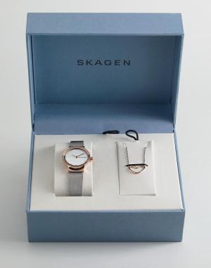 Skagen Подарочный набор из часов с сетчатым браслетом и ожерелья SKW11. Цвет: серебряный