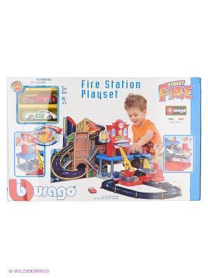 1:43 BB Набор Пожарная Станция с 2-мя металл. Машинами Bburago. Цвет: красный, черный, синий