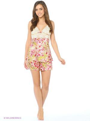 Пижама Del Fiore. Цвет: малиновый, кремовый
