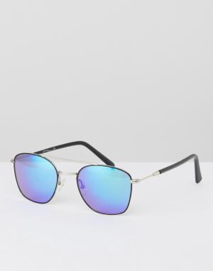 Jeepers Peepers Черные солнцезащитные очки-авиаторы с синими стеклами. Цвет: черный