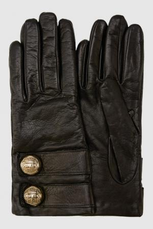 Кожаные перчатки Elisabetta Franchi. Цвет: черный