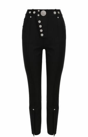 Укороченные брюки-скинни с металлизированной отделкой Alexander Wang. Цвет: черный