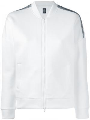 Спортивная куртка с полосками из стразов Eleventy. Цвет: белый