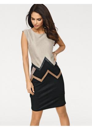 Платье Ashley Brooke. Цвет: песочный/черный