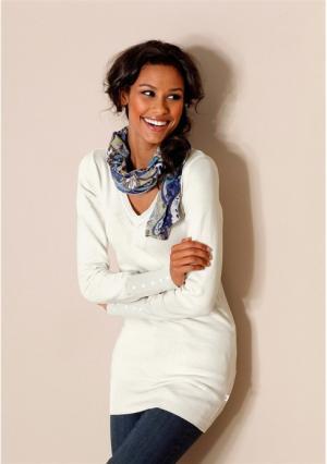 Удлиненный пуловер Flashlights. Цвет: дымчато-синий, цвет белой шерсти