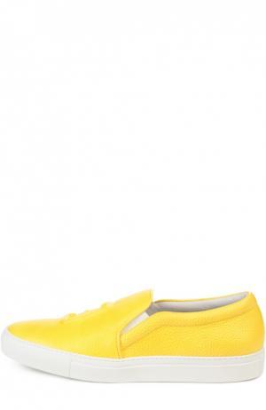 Кожаные слипоны с объемной аппликацией Joshua Sanders. Цвет: желтый