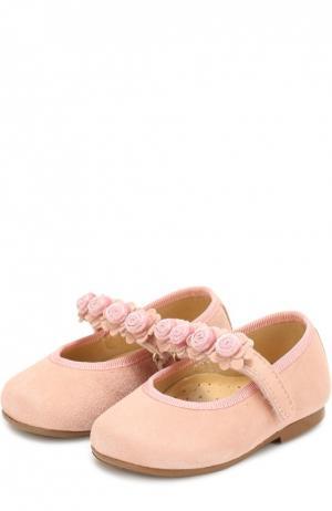 Замшевые туфли с цветочной аппликацией Clarys. Цвет: розовый