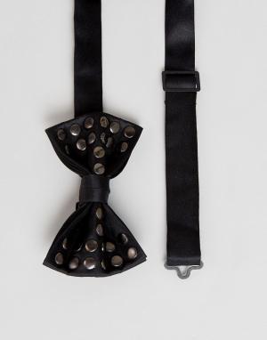 ASOS Галстук-бабочка с заклепками. Цвет: черный