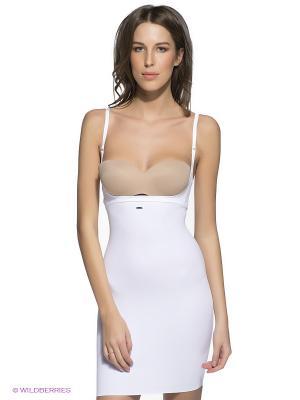 Нижнее платье с глубоким вырезом под бюст утягивающим эффектом Charmante. Цвет: белый