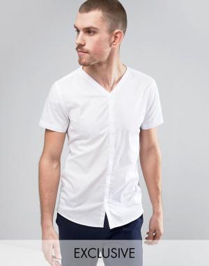 Noak Узкая бейсбольная рубашка в строгом стиле. Цвет: белый