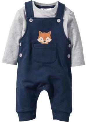 Для малышей: футболка с длинным рукавом + трикотажные ползунки из биохлопка (2 изд.) (светло-серый меланж/темно-синий) bonprix. Цвет: светло-серый меланж/темно-синий
