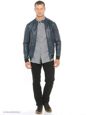 Куртка кожаная MUSTANG. Цвет: индиго