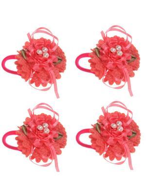 Бантики для волос на длинных резинках розочка 3 бусины, набор 2 по шт, розовые Радужки. Цвет: розовый