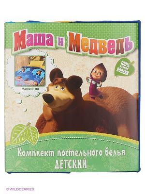 Комплект постельного белья Маша и медведь. Цвет: синий