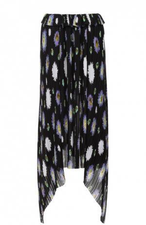 Плиссированная юбка асимметричного кроя с цветочным принтом Kenzo. Цвет: черный