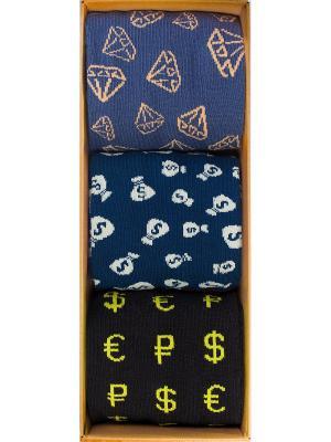 Набор Золото-бриллианты (3 пары в коробке), дизайнерские носки SOXshop. Цвет: черный,синий,светло-желтый