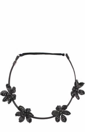Повязка для волос с цветочным декором Colette Malouf. Цвет: черный