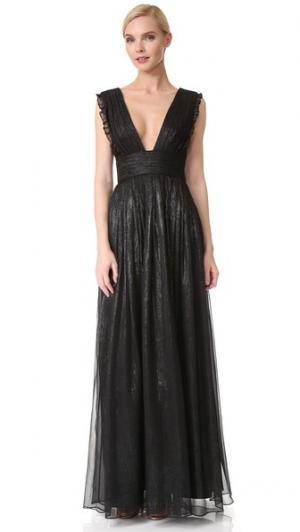 Вечернее платье с V-образным вырезом и металлизированными оборками Monique Lhuillier Bridesmaids. Цвет: серый
