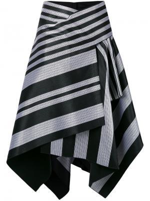 Полосатая асимметричная юбка Proenza Schouler. Цвет: чёрный