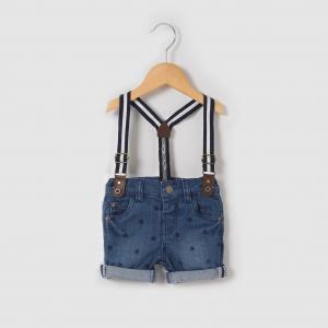 Шорты джинсовые с рисунком пальмы, 1 мес.-3 лет R mini. Цвет: синий поетртый