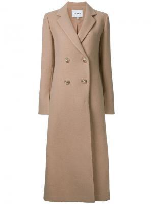 Двубортное пальто Goen.J. Цвет: коричневый