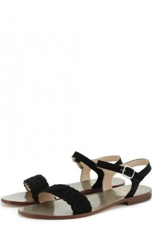 Замшевые сандалии с плетением Gallucci. Цвет: черный