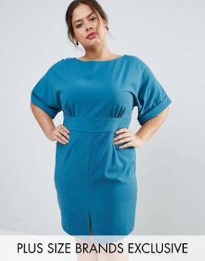 Closet Plus Платье мини с рукавами-кимоно, завязкой сзади и разрезом спереди Close. Цвет: зеленый