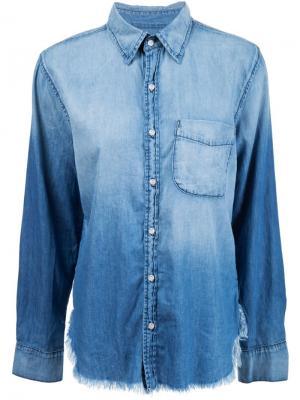 Джинсовая рубашка с необработанными краями Axel NSF. Цвет: синий