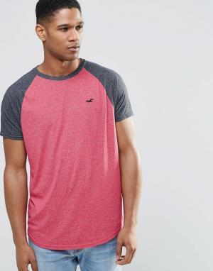 Hollister Розовая футболка слим с контрастными рукавами реглан. Цвет: розовый