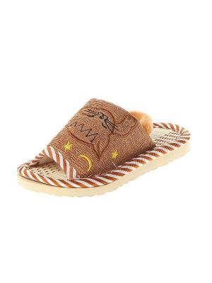 Тапочки домашние детские Migura. Цвет: коричневый, бежевый, желтый, белый