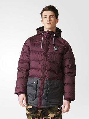 Куртка DOWN JACKET Adidas. Цвет: сливовый, серый