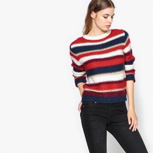 Пуловер из плотного трикотажа с круглым вырезом SUNCOO. Цвет: в полоску красный/синий/белый