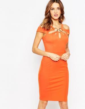 Forever Unique Бандажное платье миди Krista. Цвет: оранжевый