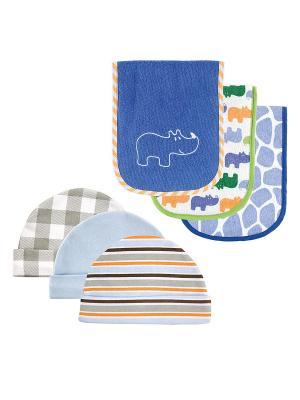 Комплект Салфетки для кормления , 3 шт.+ Шапочки, шт. Luvable Friends. Цвет: синий, голубой