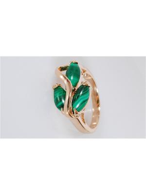 Кольцо Lotus Jewelry. Цвет: золотистый, зеленый