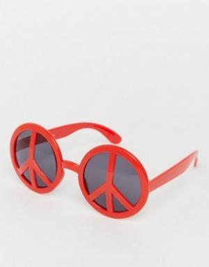 Jeepers Peepers Солнцезащитные очки с оправой в виде пацификов. Цвет: красный