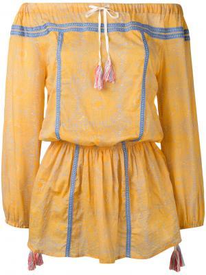 Платье с заниженной линией плеч Lemlem. Цвет: жёлтый и оранжевый