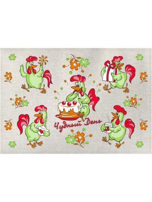 Полотенце Петухи чудесный день GrandStyle. Цвет: красный, салатовый
