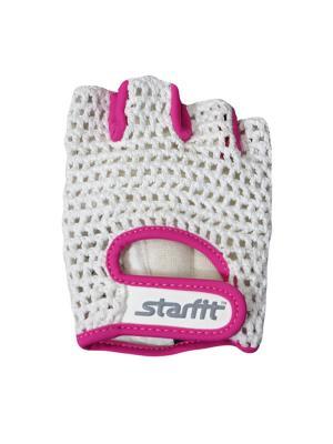 Перчатки для фитнеса, STARFIT SU-110,. Цвет: розовый, белый